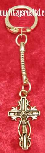 Cross Crucifix Gold Colour Keyring Holy Religious Key Ring Catholic Gift